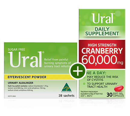 ural effervescent powder and cranberry daily supplement