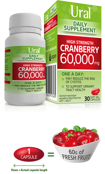 Packshot of Ural Cranberry Daily Supplement in 30 Capsules
