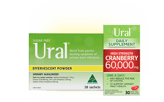 Packshots of Ural Effervescent Powder Urinary Alkalinizer and Cranberry Daily Supplement capsules