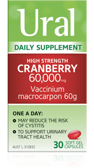 Packshot of Ural High Strength Cranberry Capsules (30 soft gel capsules)