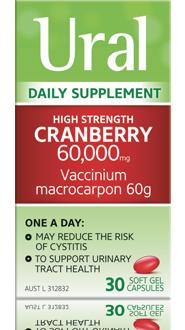 Packshot of Ural High Strength Cranberry Capsules (30 soft gel capsules)