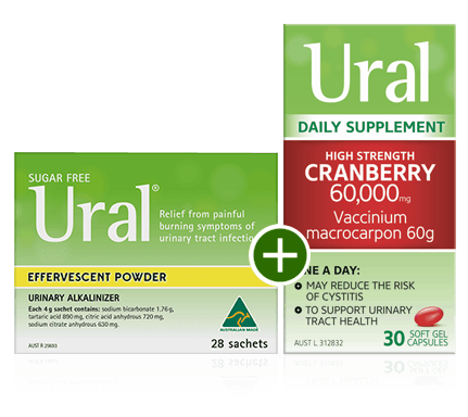 Packshots of Ural Effervescent Powder for Cystitis Relief and Ural High Strength Cranberry Capsules